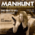 Manhunt, pulp novel reproduction w/Ella Modella